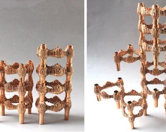 13 copper Quist candlesticks, Brutalist candleholder Variomaster, metal candle stands, Hollywood Regency Style 60s 70s Germany gift husband