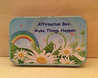Affirmation box, altoids tin, dream big and manifest your wishes