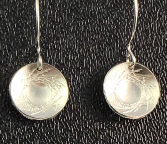 Sterling Silver Circle Drop Earrings \ Etched Earrings\ Career Wear\ Gift for Her\ Gift for girlfriend \ Handmade Silver Earrings