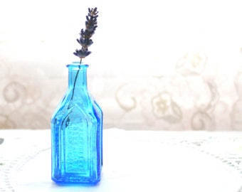 GLASS BOTTLE, Vintage Glass Blue Bottle by Wheaton, Mini Bottle, Collectible, Cottage Style, Window Sill Decor