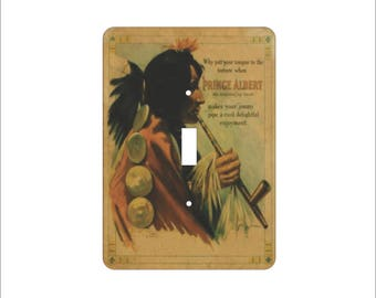 Metal Cigarette Ad Light Switch Cover - Prince Albert Switch Plate - 1T Light Switch - A Natural Joy Smoke