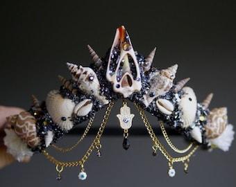 The Hand of Fatima Mermaid Crown / headband / headdress with Swarovski crystal details - halloween