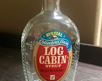 Vintage 1970's Commemorative Log Cabin Glass Bottle