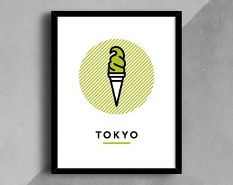 Tokyo Print, Ice Cream Print, Japan Print, Matcha, City Wall Art, Wall Art, Printable Art, City Poster, Travel Print, Line Art, Green Tea