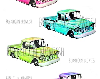 Sketchy PiCkUp TrUck vintage rusty truck pink turqoise Digital Graphic Design Elements clipart