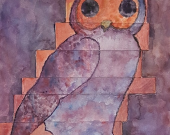 The Spotted Owl Original Painting, Owl Nature Animal Wall Art Woods Trees Watercolor
