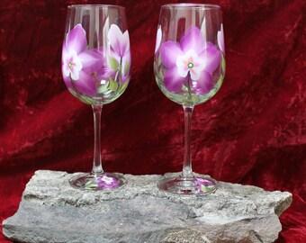Hand Painted Wine Glasses - Colorado Columbine (Set of 2)