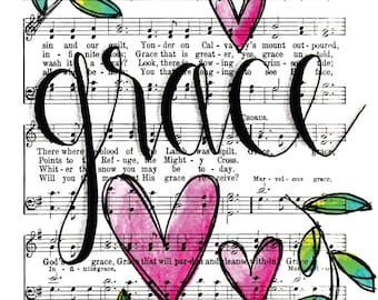 Grace Greater Than All Our Sin  5x7 Print Hymn Fine Art Hymnal Watercolor Painting Praise Sheet Music Hand Lettering Calligraphy War Room