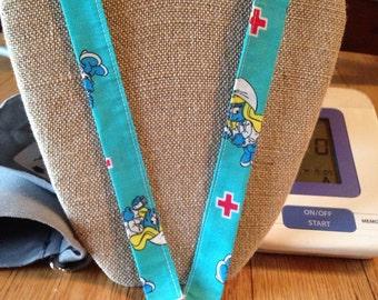 Nurse Lanyard Smurfette Medical ID Badge Holder