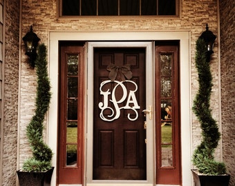 Monogram Wreath   Door Decor   Door Monogram   Wood Monogram   UNFINISHED  Letters   Custom Monogram