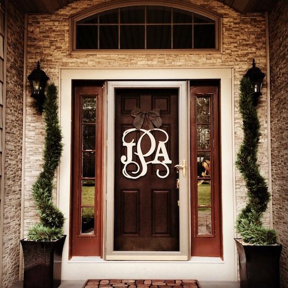 Custom monogram door hanger burlap bow block and script 24 What to hang on front door for decor
