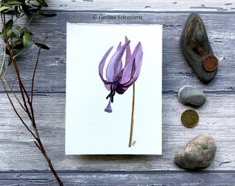 original realistic exquisite wildflower watercolor art painting wall art violet delicate floral botanical illustration small aquarelle