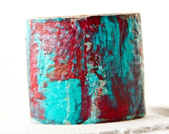 Turquoise & Coral Jewelry, Leather Cuff, Leather Jewelry, Leather Bracelet Sale