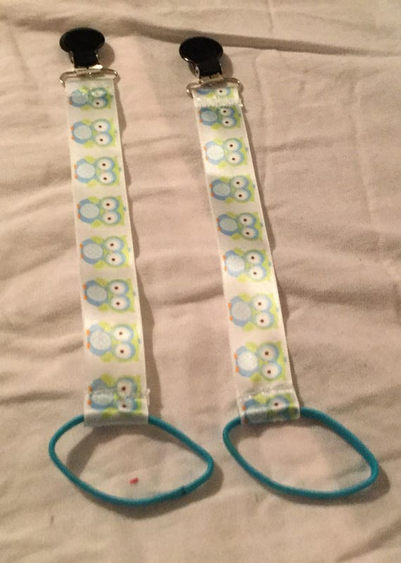 Blue Owl Ribbon Pacifier Clips