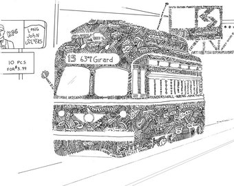 Girard Avenue Trolley Pen and Ink, Trolley Art Philadelphia, Septa Art Print, Philly Trolley Rides Pen and Ink Print