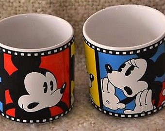 MICKEY & MINNIE MOUSE Mugs ( 2 ) showing Film Strips..  Ceramic Coffee or Tea.  Vintage..Never Used.. Mint.