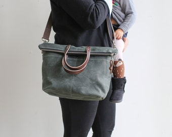 Waxed Canvas and Leather Zipper Tote/ Crossbody Zipper Tote /Waxed Canvas and Leather Tote/ Small Diaper Bag/ Mom Bag