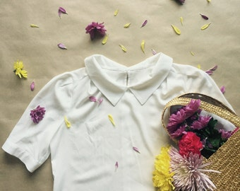 Vintage Inspired Short Sleeve Light White Blouse