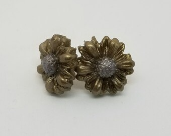 Sunflower Earrings with gold and silver shimmer
