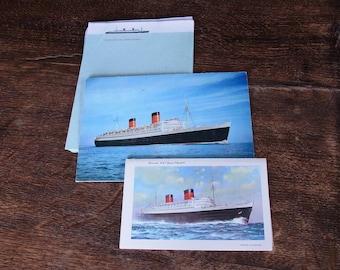 Vintage Cunard RMS Queen Elizabeth Headed Paper / Postcards / Letter Cards  Vintage Stationery  Cunard Line