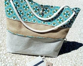Tote bag: Burlap, linen and cotton.