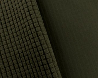 Army Brown Soft Shell Grid Fleece, Fabric By The Yard