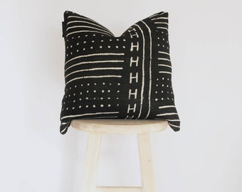 African Black Mudcloth Pillow Cover, mud cloth, boho, vintage, gift for her, nursery pillow, crib pillow, 18 x 18