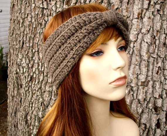 Womens Crochet Headband Earwarmer - Crochet Turban Headband in Taupe - Womens Hair Accessories - Womens Accessories