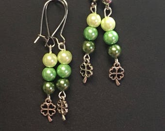 Pearl and 4 Leaf Clover Earrings