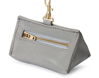 Leather Prism Pouch Grey