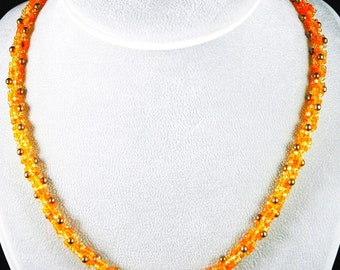 orange,topaz and gold spiral cord necklace