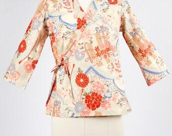 Cross over kimono top in japanese fabric PIVOINE light blue