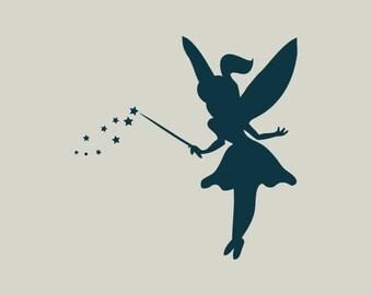 Fairy. Fairy stencil. Fairy silhouette (ref 294)