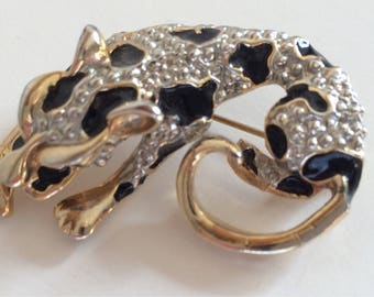 Vintage Enamel and Gold and Silver Tone Metal Leopard Brooch/Pin.