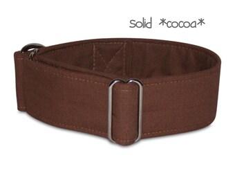 plain dog collar, brown dog collar, boy dog collar, plain dog collar, martingale collar, buckle collar, greyhound collar, solid cocoa