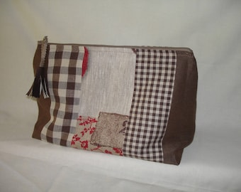 Large toiletry bag in shades of Brown
