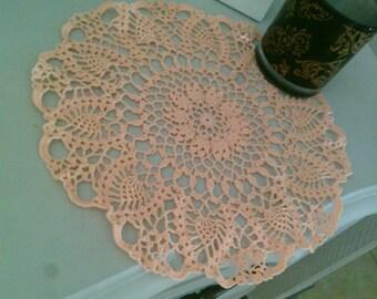 Napperon crochet fleur couleur saumon lot de 2