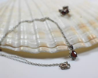 Tiny Brown Enamel Necklace and Earrings Set  Silver Metal Earwires and 925 Chain Necklace