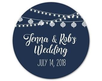 Personalized Wedding Stickers - Custom Favor Labels - Wedding Stickers - Outdoor Wedding Stickers - Custom Labels - Wedding Lights Labels