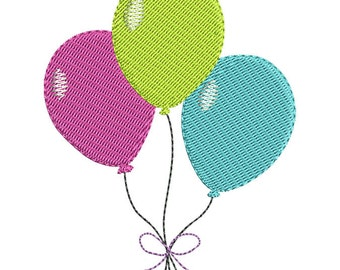 Birthday Balloons Embroidery Design - Instant Download