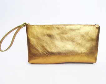 Metallic gold leather clutch - leather wristlet clutch- evening clutch SALE leather clutch purse- zipper clutch- handmade leather clutch bag