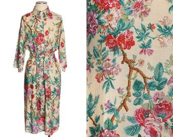 vintage linen 90s dress • bold antique floral print sz Med