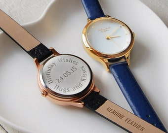 Personalised Small Ladies' Leather Strap Watch W002 ~ Engraved Wedding, Anniversary, Birthday Gift