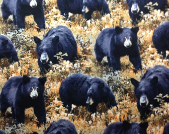 Black, Yellow, Bears, Woods, Wildlife, Nature, Valance, Topper, Window Treatment, 15x42, Free Ship, Home & Living, Mancave, Cabin, Cottage,