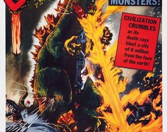 Original Godzilla, King of the Monsters (1956) movie poster reprint