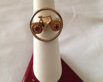 Bicycle ring- ruby red stones-