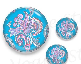 Paisley Graphic Turquoise Base Glass Round Cabochon 1 x 25mm / 2 x 12mm