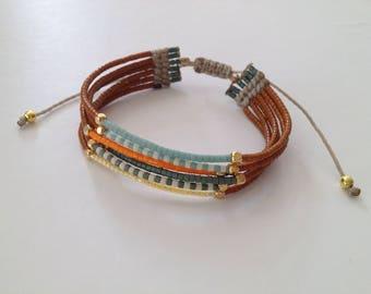 Bracelet safari cordon réglable et perles Miyuki marron kaki orange