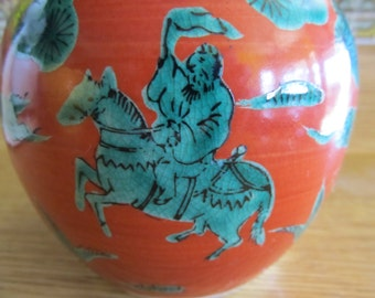 Vintage Blue and Orange Japanese Ceramic Warrior Vase
