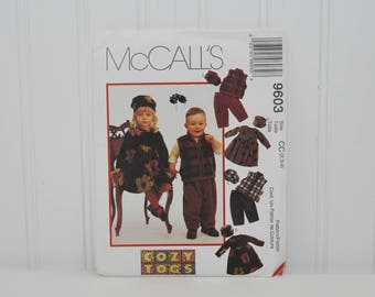 Vintage McCall's 9603 Cozy Togs Sewing Pattern (c. 1998) Toddler Sizes 2-4, Toddler Dress, Vest, Pull-On Pants, Hats, Cute Toddler Clothes